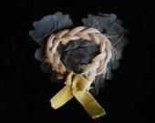 Victorian Human Hair Love Token on Silk Heart