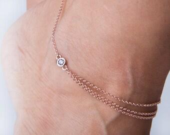 Silver chain anklet, Gold anklet bracelet,3 chains anklet bracelet, CZ charm anklet, Silver chain anklet,