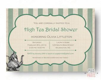 High Tea Bridal Shower Invitation (Printable) Bridal Tea Party Invitation - Garden Party Invitation - Afternoon Tea Invitation