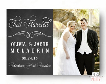Just Married Announcement // Printable Marriage Announcement // Chalkboard Just Married Announcement // Chalkboard Marriage Announcement