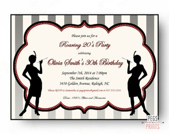 Roaring 20s Birthday Invitation // 1920s Invitation Printable // Flapper Girl Birthday Invitation // Great Gatsby Birthday Invitation