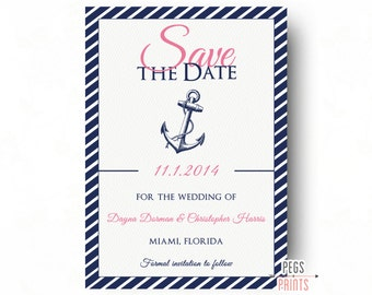 Nautical Save the Date (Printable) Nautical Wedding Announcement - Pink and Navy Nautical Save the Date - Navy Save the Date