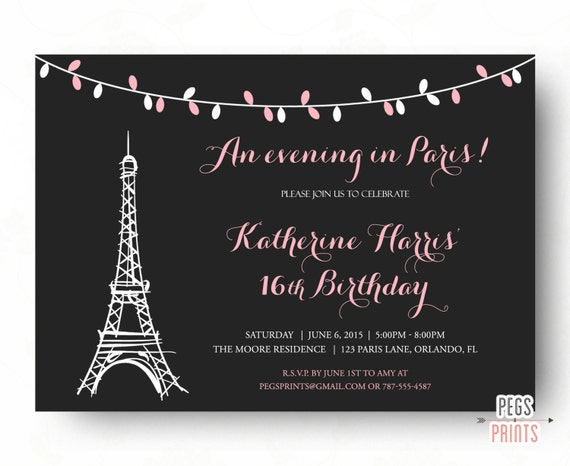Paris Sweet 16 Birthday Invitations Printable Paris Theme Birthday