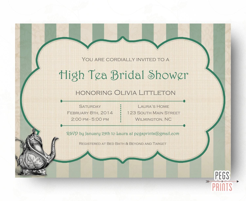 High tea bridal shower invitation printable bridal tea party for Bridal shower email invitations