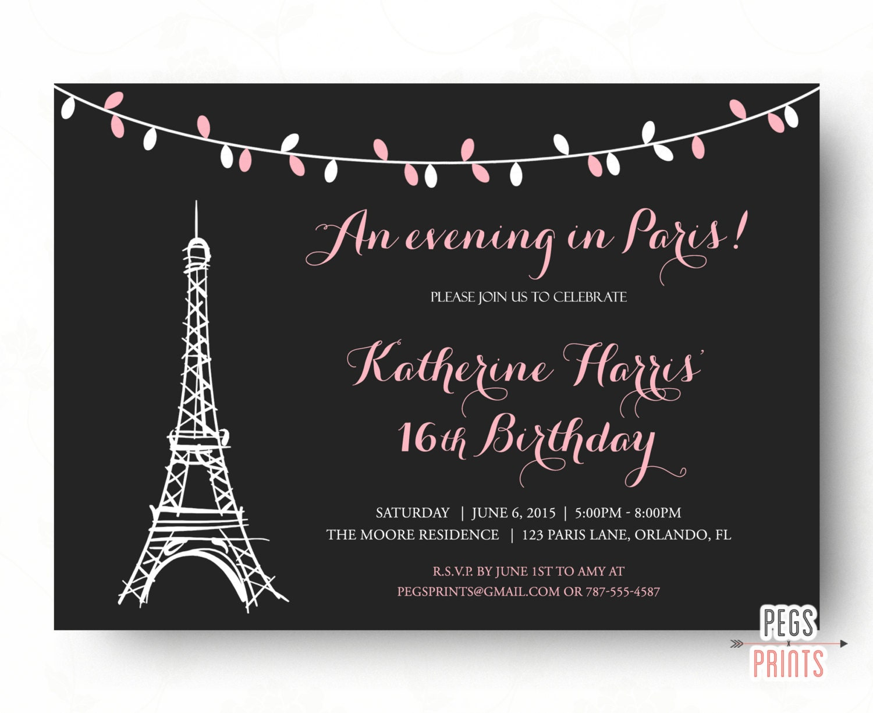 Paris Sweet 16 Birthday Invitations Printable Paris Theme – 16 Birthday Invitations