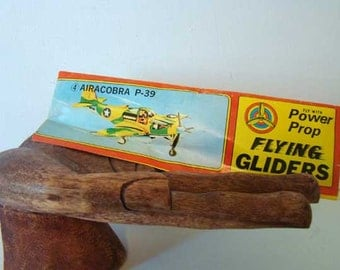 Power Prop flying glider, Airacobra P-39, vintage toy airplane, airplane kit, WWII model airplane