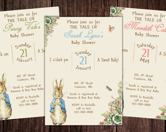 Printable Peter Rabbit Baby Shower, story book baby shower invitation, Peter Rabbit Birthday