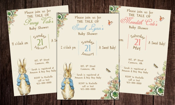 Printable Peter Rabbit Baby Shower, story book baby shower invitation, Peter Rabbit Birthday by ...