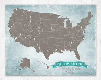 Custom USA Road Trip Map USA Travel Map Long Distance Love - 40x60 us maps