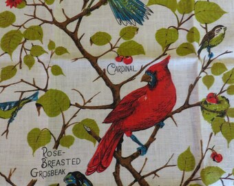 Birds of a Feather Flock Together // Tea Towel in LINEN // NEW // Cardinal Blue Jay Scarlet Tanager Blue Warbler and Rose-Breasted Grosbeak