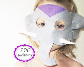 PDF PATTERN Elephant felt mask sewing tutorial instruction DIY handmade grey animal costume accessory for boys girls adults Dress up play