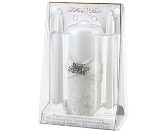 LR White Lace Unity Candle, Wedding Unity Candles, White wedding
