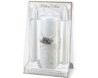 LR White Lace Unity Candle