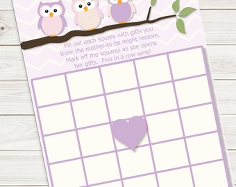 Baby Shower Bingo Card Game Purple Owl~Printable~INSTANT DOWNLOAD