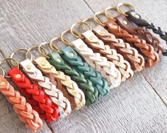 Braided Leather Keychain,Brass W ring & rivet