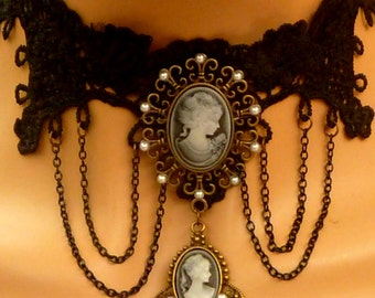 Elegant lace necklace with a cameo in black anthracite costume jewelry