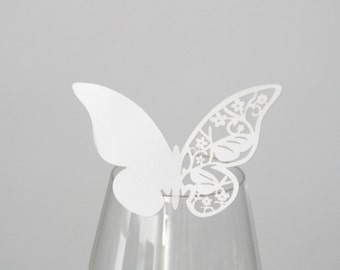 50 table cards place cards Butterfly white