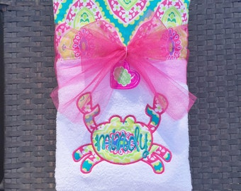 Be Crabby with this Embroidered Beach Towel, Lounge Chair Towel, or Beach Blanket