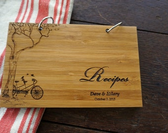 Personalized Recipes Book Tandem Bike with Tree Bridal Shower Gift Housewarming Hostess Present Holiday Stocking Stuffer Under 20 Gift