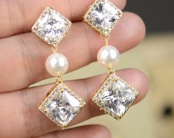 Wedding Jewelry Bridesmaid Jewelry Bridal Bridal Earrings, Drop Pearl Earrings, Ivory Pearl Earrings, Wedding Earrings, Bridal Jewelry