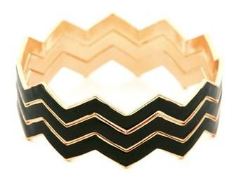 Black Chevron Bangle Set, Black Chevron Bracelets,