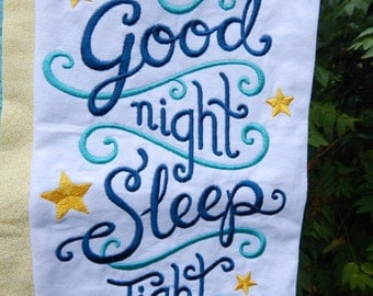 Good Night Sleep Tight Embroidered Pillowcase
