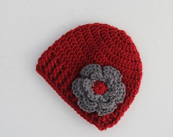 Crochet baby hat, baby girl hat, red and grey, girl winter hat, infant hat, crochet beanie, baby beanie - MADE TO ORDER
