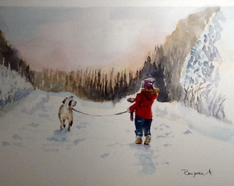 """Original Watercolor Painting, """"Winter Connection"""", free shipping North America and UK"""