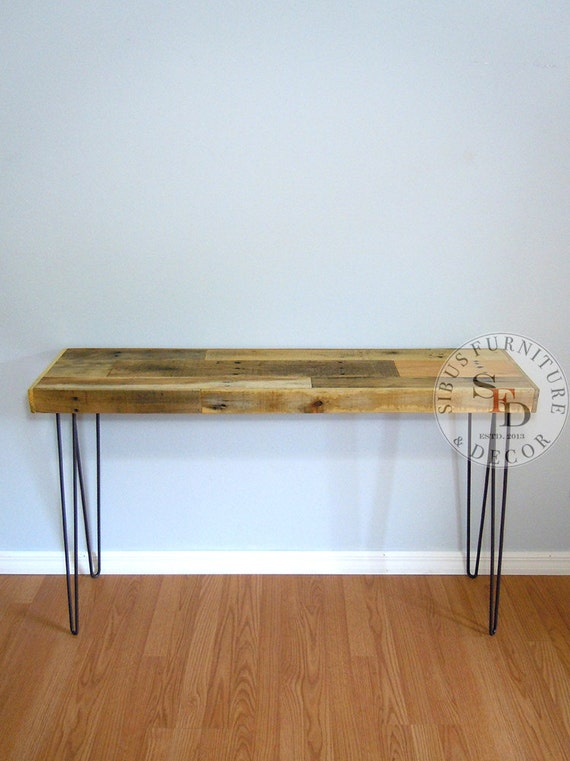 Foyer Table Hairpin Legs : Pallet entry table reclaimed foyer hairpin legs