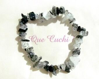 Elastic bracelet baroque of Quartz Tourmaline'chips