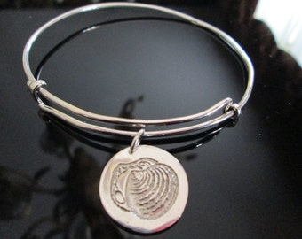 Adjustable Sterling Bangle Bracelet with Etched Clam Shell Charm