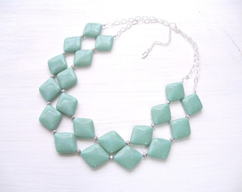 chunky double layer acrylic  turquoise necklace with antique roses