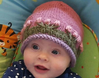 Super soft cotton and angora flowered baby hat