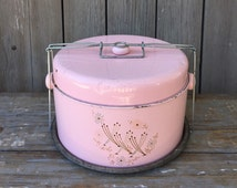 cake carrier and pie carrier, vintage pink tin cake carrier