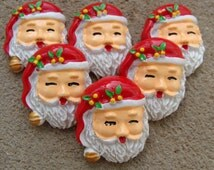 2 Red Nose Santa Claus Face Christmas Resin Flatback resin Scrapbooking Girl Hair Bow Center Phone Frame Decor Crafts Making supplies