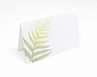 Blank Place Cards - Fern Table Decor - Botanical Table Decor - Stamped Place Cards - Table Seating Cards - Buffet Labels - Hostess Gift Idea