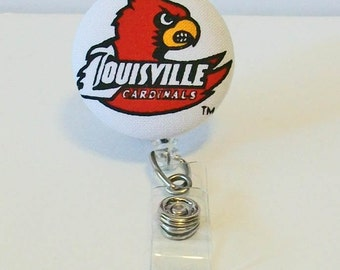 Fun Red and White Cardinals Fabric Button Retractable Badge Reel Clip