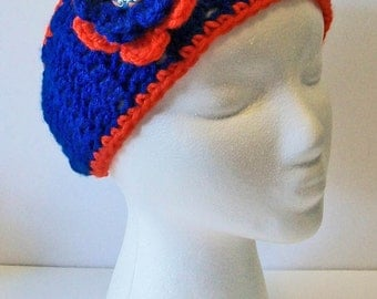 Trendy Orange and Blue Tigers Inspired Hand Crocheted Headband Ear Warmer Child & Adult Sizes Available