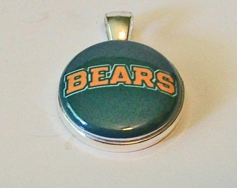 Fun Green and Gold Bears Round Silver Pendant