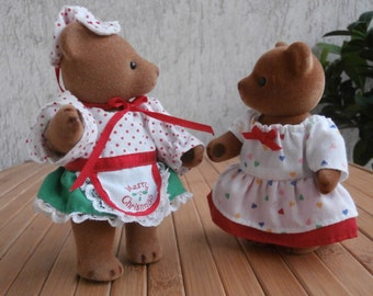 Vintage Pair Bears FOREST CRITTERS Friend Sylvanians/Calico Critters, Christmas Family Flocked Bears,Authentic Christmas Clothes