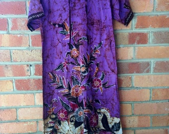 amazing 1970s  hand batik cotton tunic dress S M L