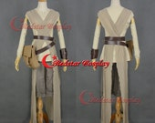 Movie Star Wars The Force Awakens Rey Dress Cosplay Costume Outfit Custom Made
