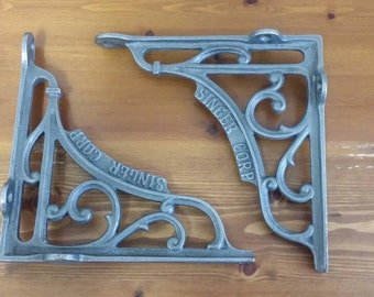 "Singer Corp 1 pair 6"" Brackets Shelf Wall Brackets Rack-Antique Vintage Style"