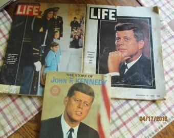 2 JFk Life Magazines, JFK Memorial LIFE Magazine, JFK Biography Magagazine,JackyO