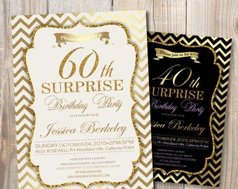 Birthday Party invitation. Surprise party Woman in 30th - 40th - 50th - 60th - 70th - 80th / DIY