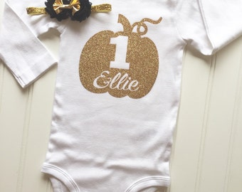 Gold pumpkin onesie- Gold Onsie - Fall baby outfit 1st Birthday Outfit - pumpkin birthday - Thanksgiving Outfit - baby girl fall shirt