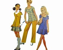 60s Mod Dress Pattern Vintage Sewing Patterns for Women / Simplicity 8607 Tunic Skirt & Pants Pattern Bust 33.5 / 60s Mod Sewing Patterns