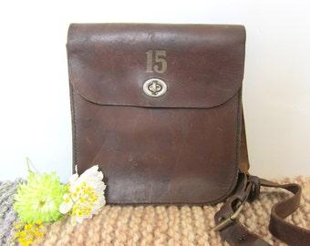 vintage brown leather satchel bag