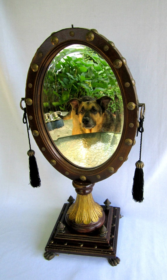 Free standing mirror vanity oval mid century looking glass for Standing glass mirror