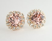 Rose gold Swarovski blush crystal earrings - perfect for blush wedding,blush bridemaid,blush wedding jewelry.Blush earrings - gift for her